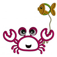 Cute Little Crab Holding a Fish Applique Machine Embroidery Design Digitized Pattern
