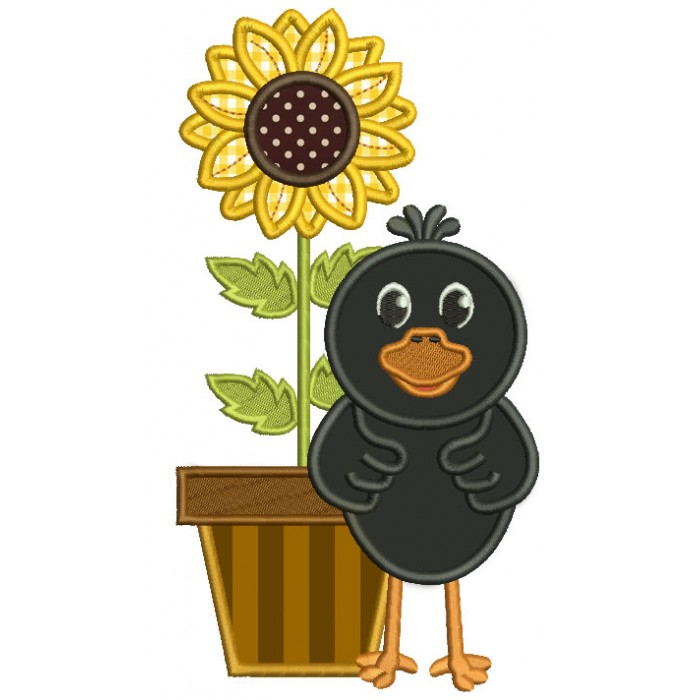 Cute Little Crow With a Sunflower Applique Machine Embroidery Design Digitized Pattern