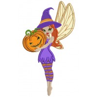 Cute Little Fairy Witch Holding Pumpkin Halloween Applique Machine Embroidery Design Digitized Pattern