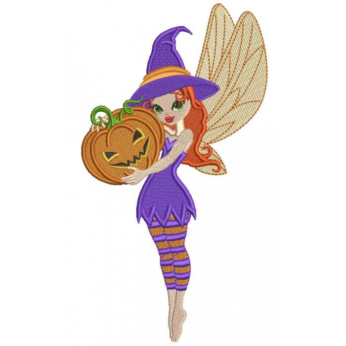 Cute Little Fairy Witch Holding Pumpkin Halloween Filled Machine Embroidery Design Digitized Pattern