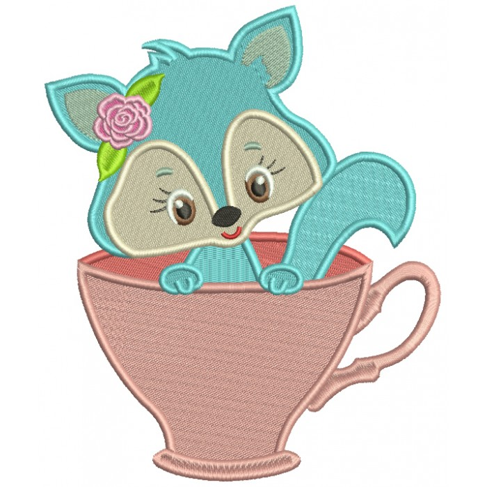 Cute Little Fox Sitting Inside Cup Filled Machine Embroidery Design Digitized Pattern