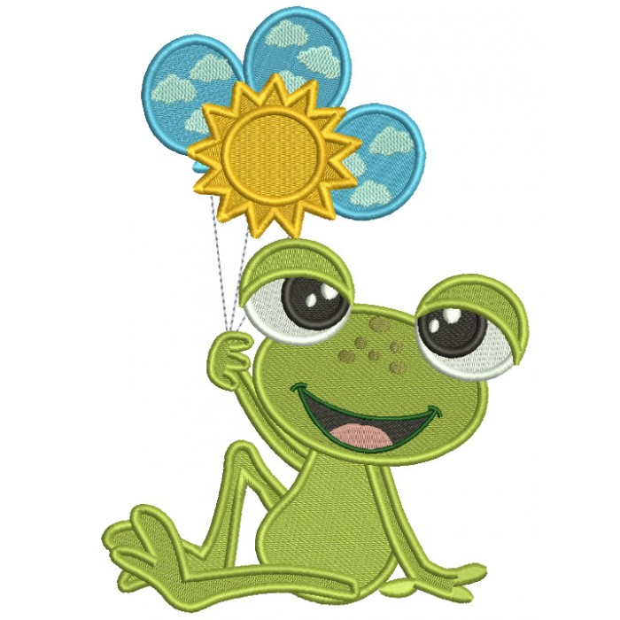Cute Little Frog Holding Three Balloons Filled Machine Embroidery Design Digitized Pattern