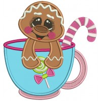 Cute Little Gingerbread Girl Sitting Inside A Cup Christmas Applique Machine Embroidery Design Digitized Pattern