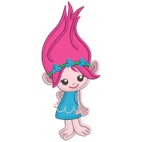 Cute Little Girl Troll Looks Like Poppy From Smurfs Applique Machine Embroidery Design Digitized Pattern