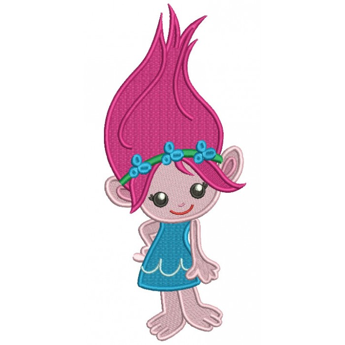 Cute Little Girl Troll Looks Like Poppy From Smurfs Filled Machine Embroidery Design Digitized Pattern