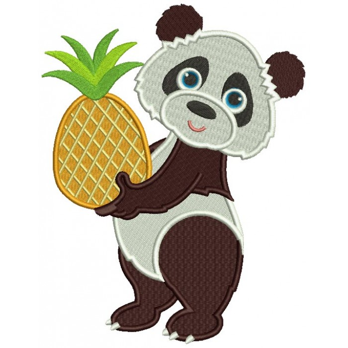 Cute Little Panda Holding a Pinaple Filled Machine Embroidery Design Digitized Pattern