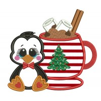 Cute Little Penguin Sitting Next To a Warm Cup Of Cocoa Christmas Applique Machine Embroidery Design Digitized Pattern