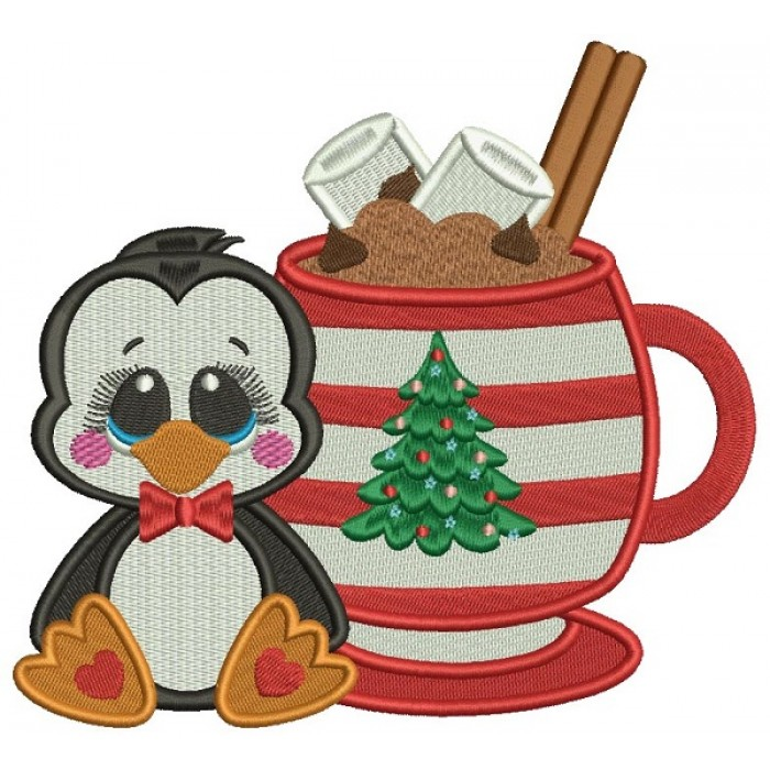Cute Little Penguin Sitting Next To a Warm Cup Of Cocoa Christmas Filled Machine Embroidery Design Digitized Pattern