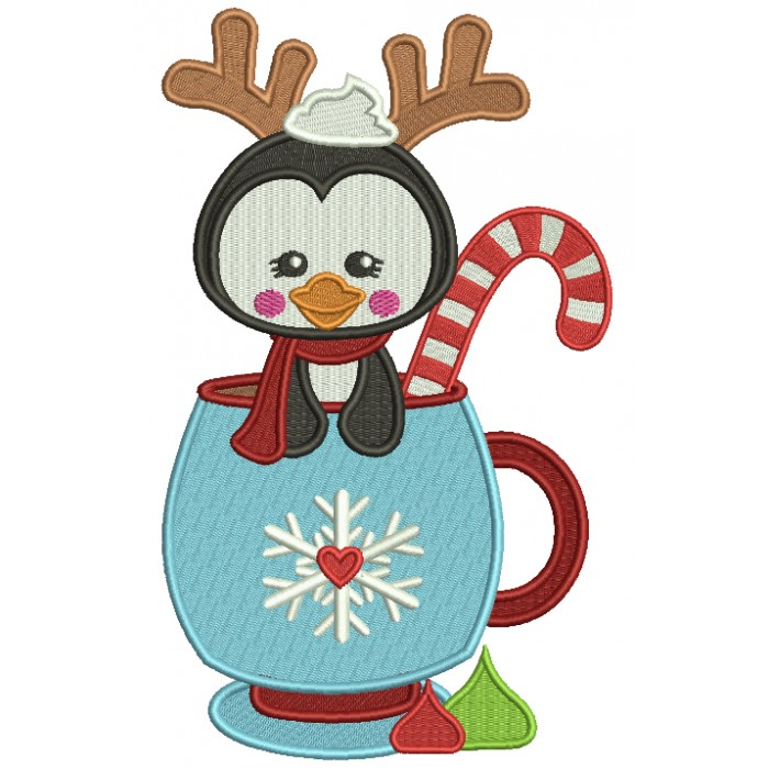 Cute Little Penguin Wearing Antlers and Sitting In The Cup Christmas Filled Machine Embroidery Design Digitized Pattern