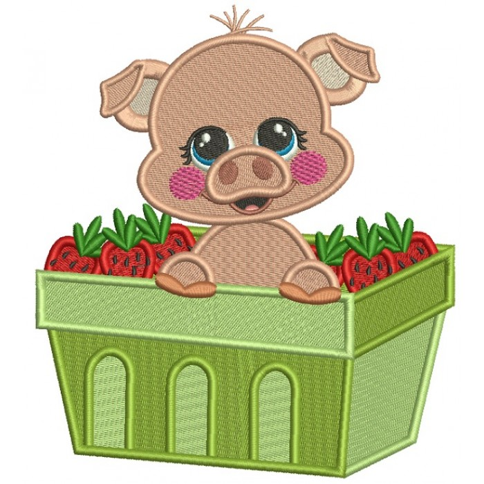 Cute Little Pig Sitting Inside a Basket Filled With Strawberries Filled Machine Embroidery Design Digitized Pattern
