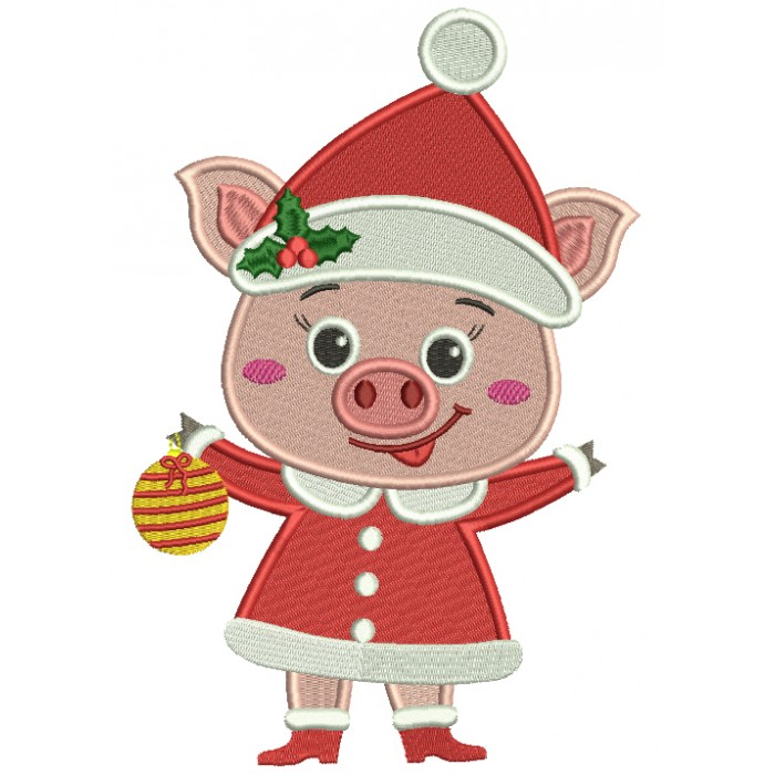 Cute Little Piggy Wearing Santa Hat And Holding Christmas Ornament Filled Machine Embroidery Design Digitized Pattern