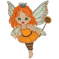 Cute Little Princess Fairy Halloween Applique Machine Embroidery Design Digitized Pattern