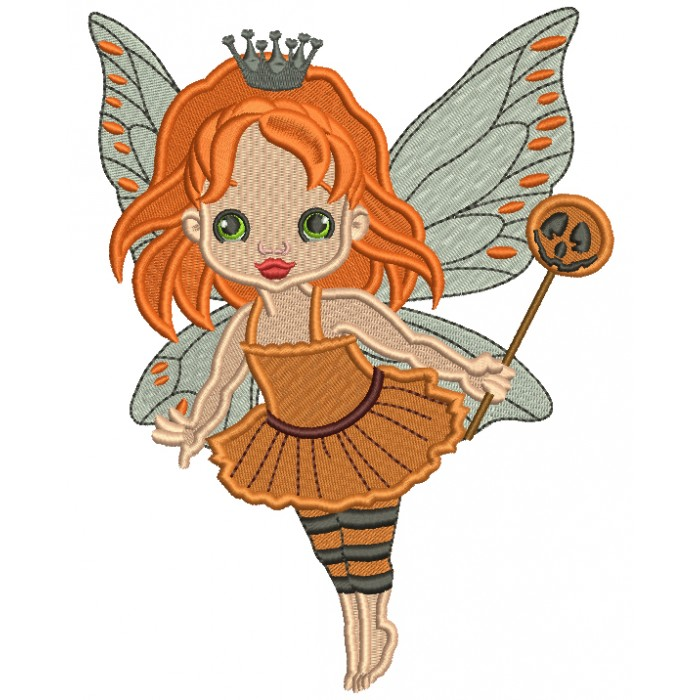 Cute Little Princess Fairy Halloween Filled Machine Embroidery Design Digitized Pattern
