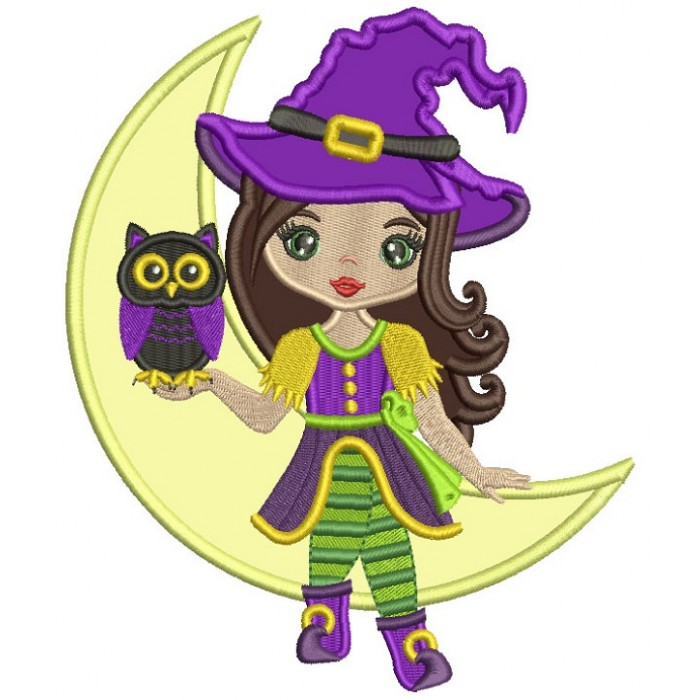 Cute Little Witch Holding Owl And Sitting On The Moon Applique Machine Embroidery Design Digitized Pattern