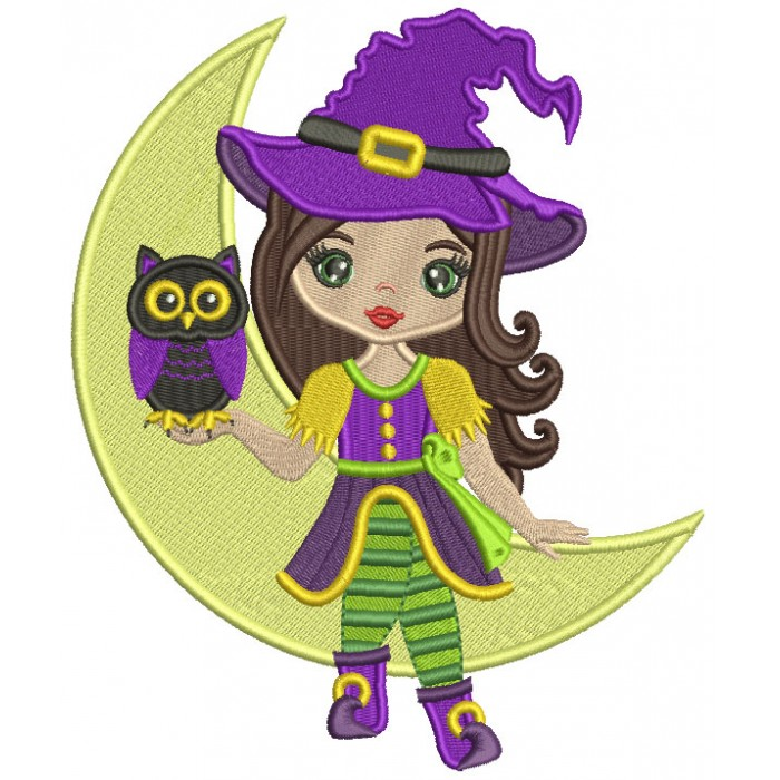 Cute Little Witch Holding Owl And Sitting On The Moon Filled Machine Embroidery Design Digitized Pattern