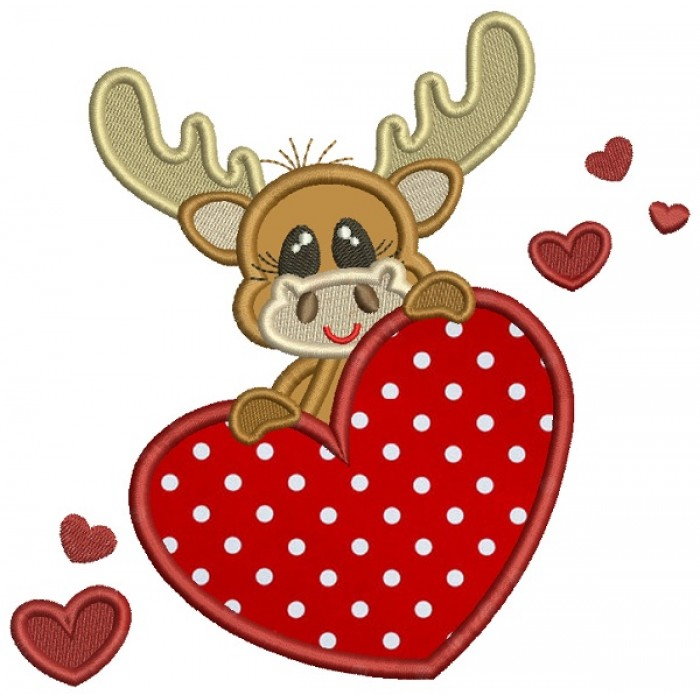 Cute Moose Holding a Big Heart Applique Machine Embroidery Design Digitized Pattern