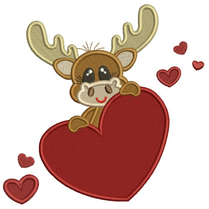Cute Moose Holding a Big Heart Filled Machine Embroidery Design Digitized Pattern