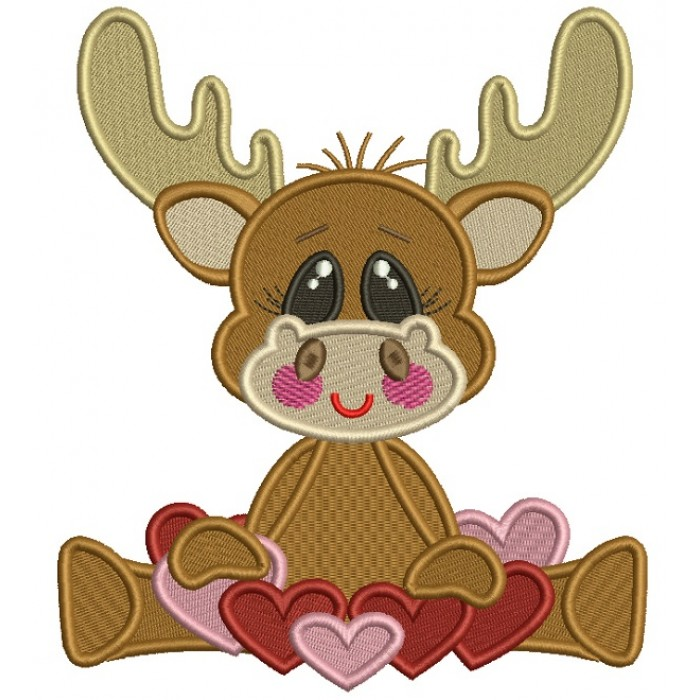 Cute Moose With Lots Of Hearts Filled Machine Embroidery Design Digitized Pattern