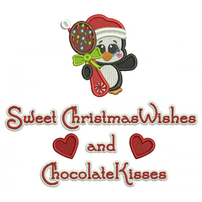 Cute Penguin Sweet Christmas Wishes And Chocolate Kisses Christmas Filled Machine Embroidery Design Digitized Pattern