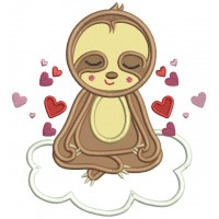 Cute Sloth With Hearts Applique Machine Embroidery Design Digitized Pattern