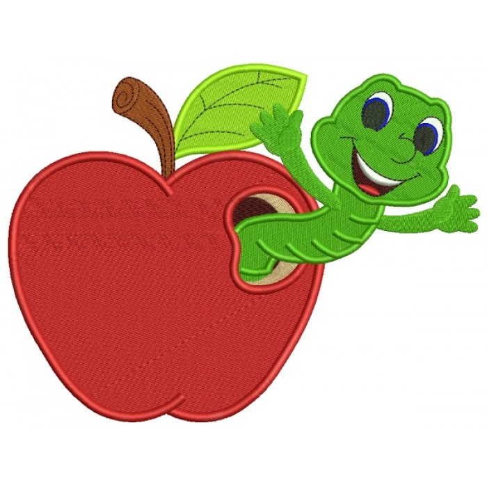 Cute Smiling Book Worm Inside Apple School Filled Machine Embroidery Design Digitized Pattern