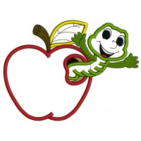 Cute Smiling Worm Inside Apple School Applique Machine Embroidery Design Digitized Pattern