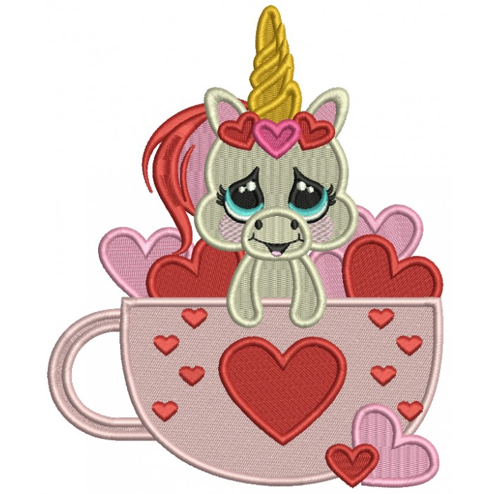 Cute Unicorn Inside a Cup With Hearts Filled Machine Embroidery Design Digitized Pattern
