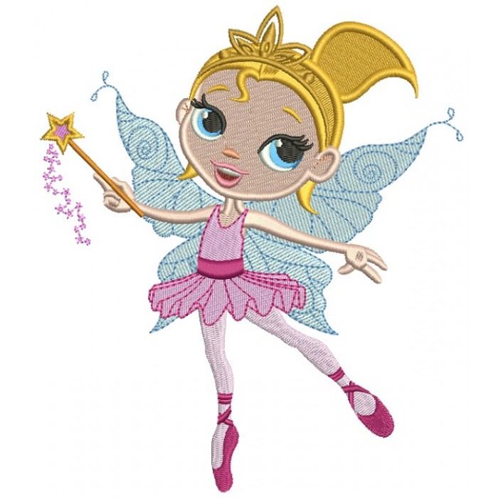 Dancing Fairy Ballerina Filled Machine Embroidery Design Digitized Pattern