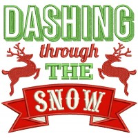 Dashing Through The Snow Reindeer Banner Christmas Applique Machine Embroidery Design Digitized Pattern
