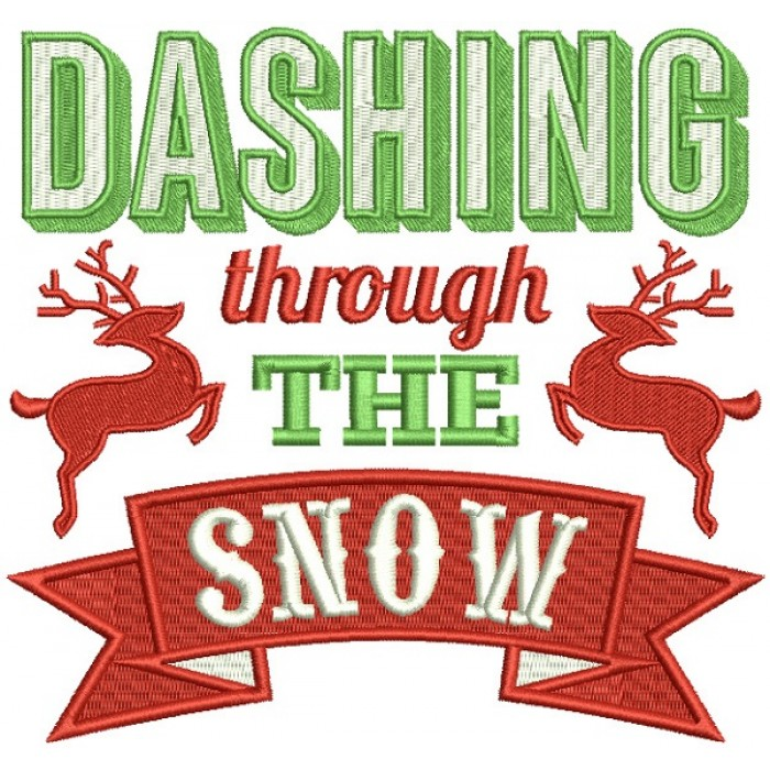 Dashing Through The Snow Reindeer Banner Christmas Filled Machine Embroidery Design Digitized Pattern
