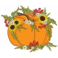 Decorative Pumpking With Sunflowers Thanksgiving Applique Machine Embroidery Design Digitized Pattern
