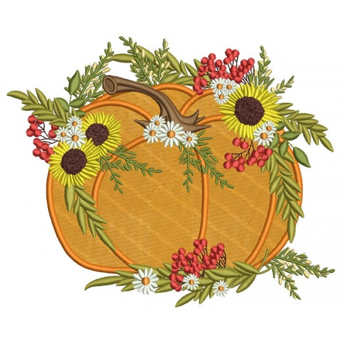 Decorative Pumpking With Sunflowers Thanksgiving Filled Machine Embroidery Design Digitized Pattern