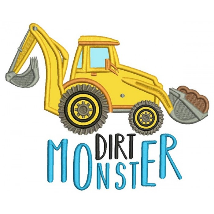 Dirt Monster Applique Machine Embroidery Design Digitized Pattern