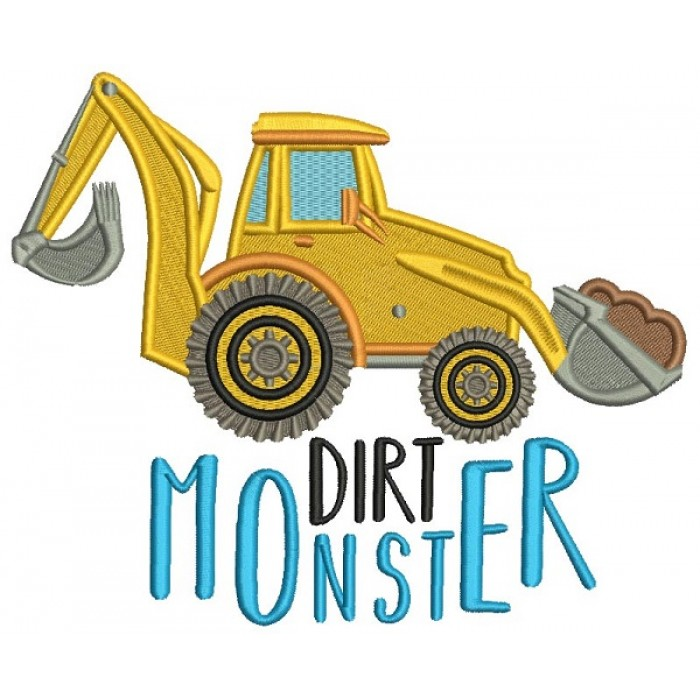 Dirt Monster Filled Machine Embroidery Design Digitized Pattern