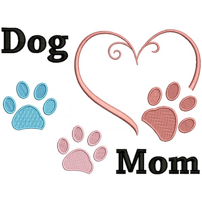 Dog Mom Heart Dog Paw Filled Machine Embroidery Design Digitized Pattern