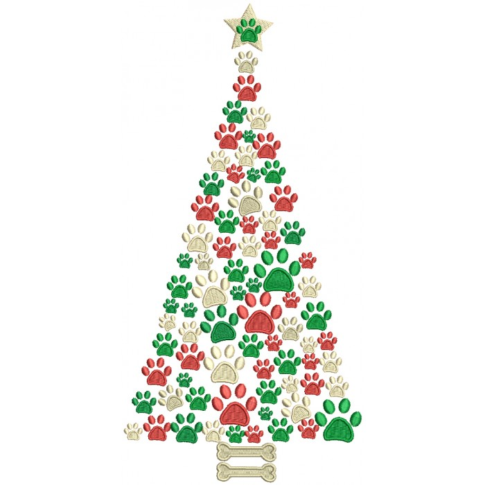 Dog Paw Christmas Tree Filled Machine Embroidery Design Digitized Pattern