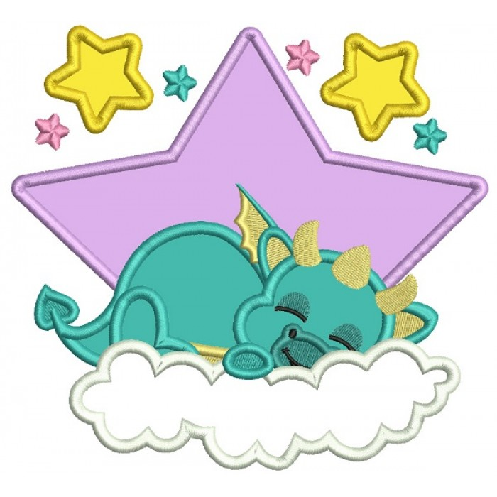 Dragon Sleeping On The Cloud Applique Machine Embroidery Digitized Design Pattern