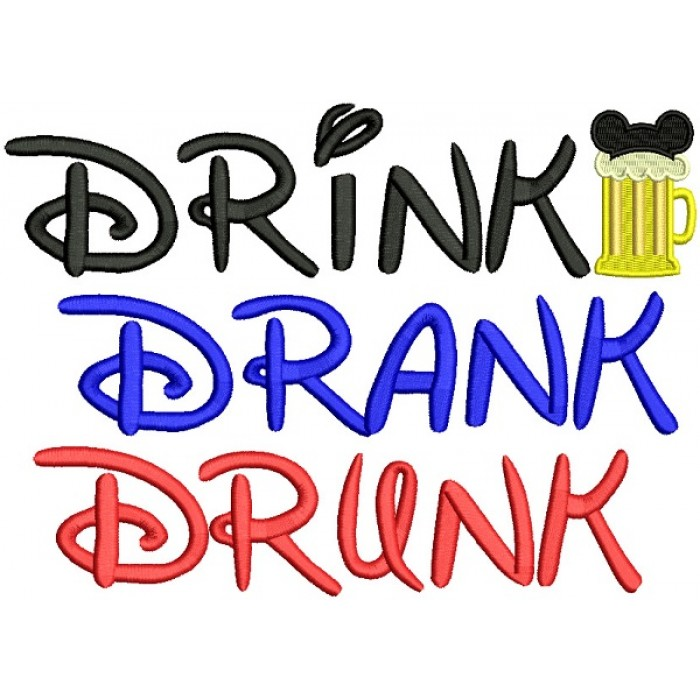 Drink Drank Drunk Beer Mug Filled Machine Embroidery Design Digitized Pattern