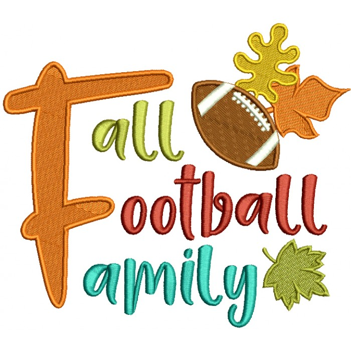 Fall Football Family Filled Machine Embroidery Design Digitized Pattern