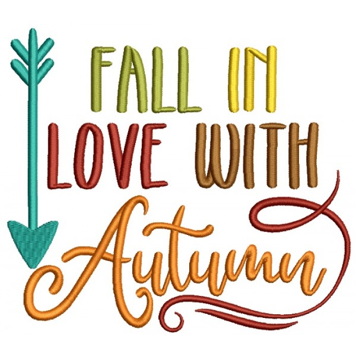 Fall In Love With Autumn Filled Machine Embroidery Design Digitized Pattern