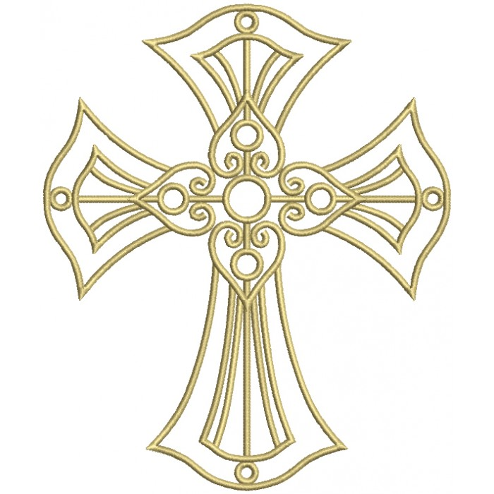 Fancy Decorative Cross Religious Filled Machine Embroidery Design Digitized Pattern