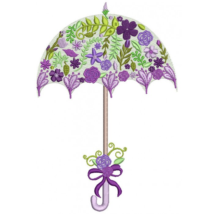 Filled Behind The Flowers Ornate Flower Umbrella Machine Embroidery Design Digitized Pattern