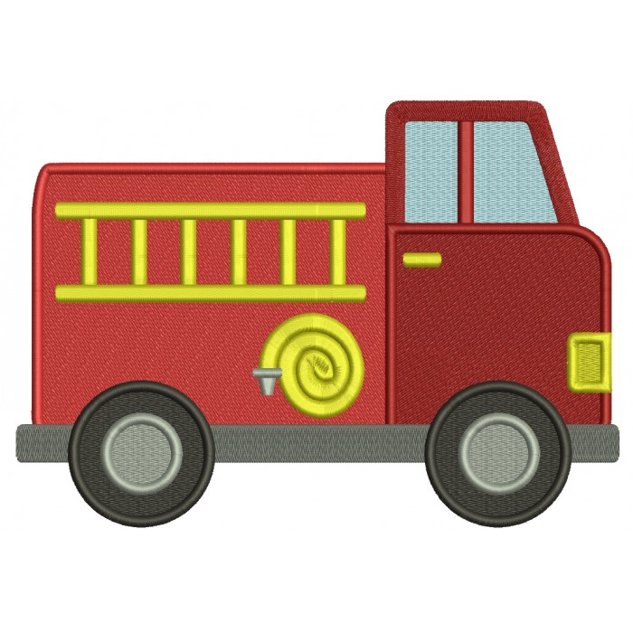 Fire Truck With a Hose And Ladder Filled Machine Embroidery Design Digitized Pattern