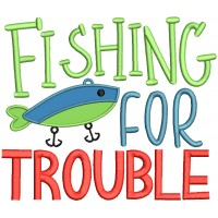 Fishing For Trouble Applique Machine Embroidery Design Digitized Pattern