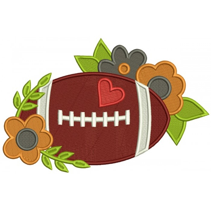 Football With Flowers Filled Machine Embroidery Design Digitized Pattern