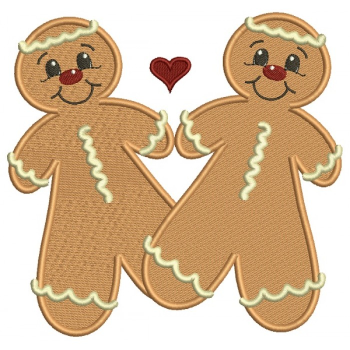 Ginger Bread Love Couple Filled Machine Embroidery Design Digitized Pattern