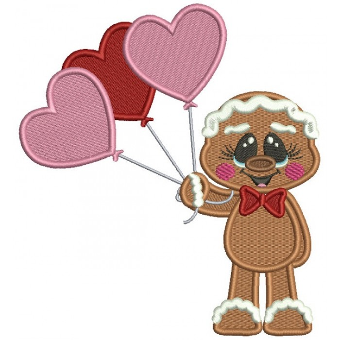Gingerbread Man Holding Three Heart Shaped Balloons Valentines's Day Filled Machine Embroidery Design Digitized Pattern