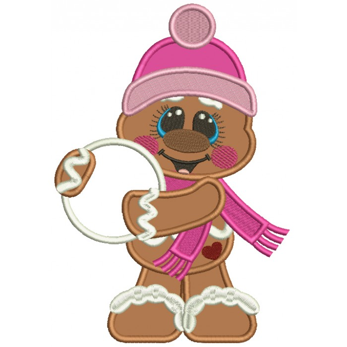 Gingerbread Man Holding a Snow Ball Christmas Applique Machine Embroidery Design Digitized Pattern