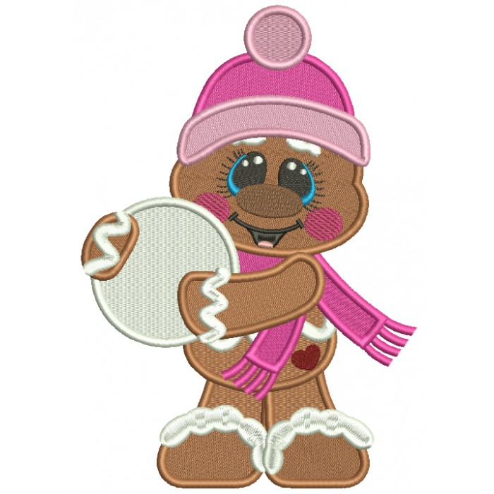Gingerbread Man Holding a Snow Ball Christmas Filled Machine Embroidery Design Digitized Pattern