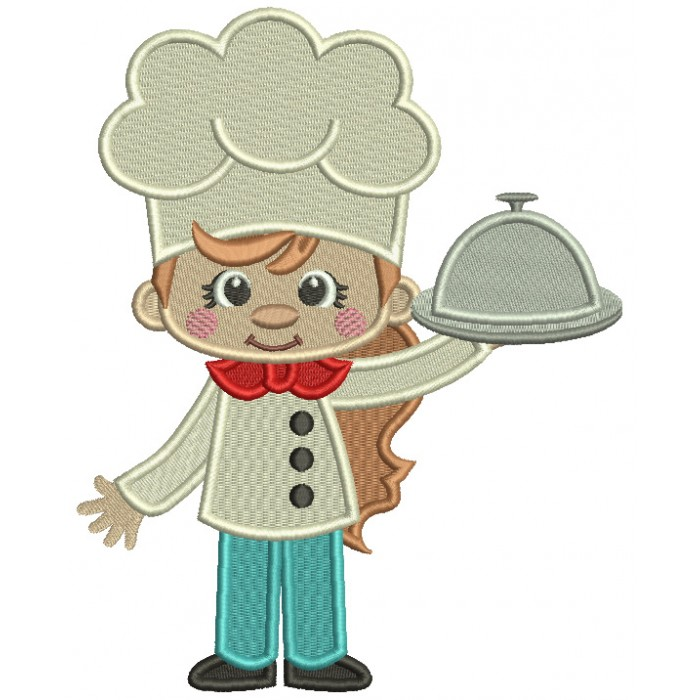 Girl Cook With a Red Bow Filled Machine Embroidery Design Digitized Pattern